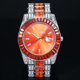 ホワイトゴールド オレンジ色 バゲットベゼル 日付表示文字盤 男性用腕時計