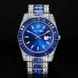 ブルーバゲットベゼル 日付表示文字盤  ウォッチ 男性時計
