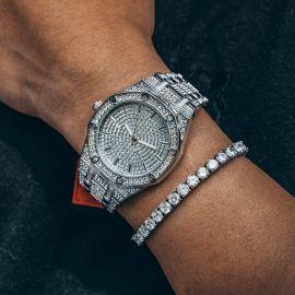 ホワイトゴールド 豪華 スタイリッシュな八角形 文字盤 時計