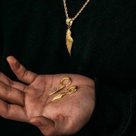 ゴールド 天使の翼 ペンダントとイヤリング セット