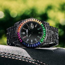 虹色 バゲット カット ブラック ダイヤル カレンダー 時計 ウォッチ