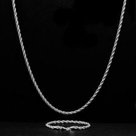 ホワイトゴールド 3mm ロープ リンク チェーン セット