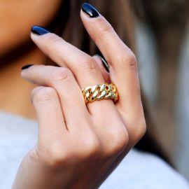 ゴールド 10mm キューバ 女性 リング
