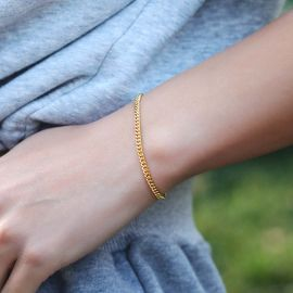 ゴールド 3mm キューバ 女性 ブレスレット
