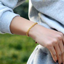 ゴールド 5mm ロープ 女性 ブレスレット