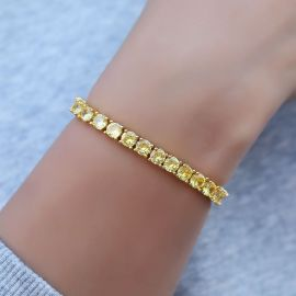 ゴールド 5mm ファンシー 黄色CZダイヤ テニス 女性 ブレスレット