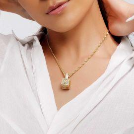 ゴールド 女性 キューブ A~Zレター ペンダント