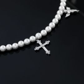 十字架と祈りの天使 女性 チャーム パール ネックレス