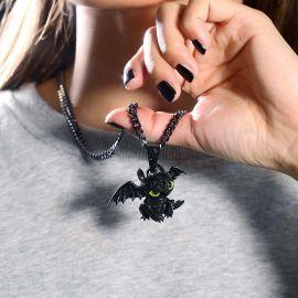 ブラックゴールド 小さいドラゴン 女性 ペンダント