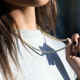ゴールド 女性 3mm テニス ネックレス