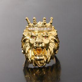 ゴールド キング クラウン ライオン リング