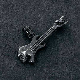 ブラックゴールド ロック ジェスチャ スケルトン ギター ペンダント