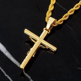 ゴールド 十字架 キリスト受難の像 ペンダント