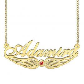 パーソナライズ 天使の翼 誕生石 名前 ネックレス