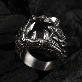 クール ドラゴン 爪 ステンレススチール ブラックCZダイヤ リング