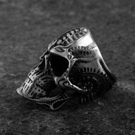 スチームパンク ステンレススチール 頭蓋骨 リング