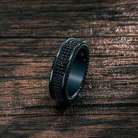 ブラックゴールド 8.5mm 3列 パヴェ エタニティ リング