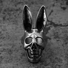 ファッション ウサギ 頭蓋骨 ステンレススチール リング