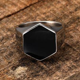 六角形 ステンレススチール 銀 リング
