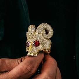 ゴールド 輝く 悪魔の頭蓋骨 リング