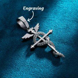 蛇 翼 十字架 ギリシア神話 ケーリュケイオン ペンダント