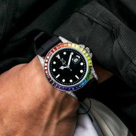 40mm グラデーション CZダイヤ ブラック ラバーストラップ付き ブラック ルミナスダイヤル ウォッチ 時計
