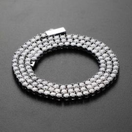 女性 ホワイトゴールド 3mm テニス ネックレス