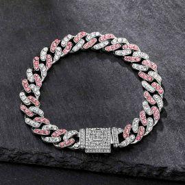 11mm ホワイト&ピンク CZダイヤ キューバ リンク ブレスレット