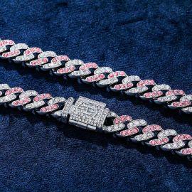 11mm ホワイト&ピンク CZダイヤ キューバ リンク チェーン