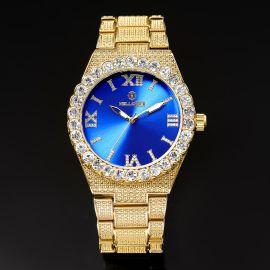 ゴールド ブルー ルミナス ローマ数字 メンズ ウォッチ 時計