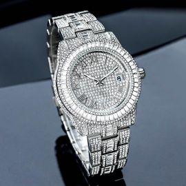 ホワイトゴールド バゲット カット ローマ数字 メンズ ウォッチ 時計