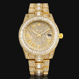 ゴールド バゲット カット ローマ数字 メンズ ウォッチ 時計