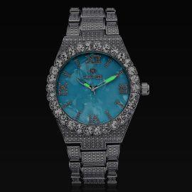 ホワイトゴールド ベイビーブルー ルミナス ローマ数字 メンズ ウォッチ 時計