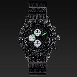 ブラックゴールド ラウンド カット ルミナス メンズ ウォッチ 時計