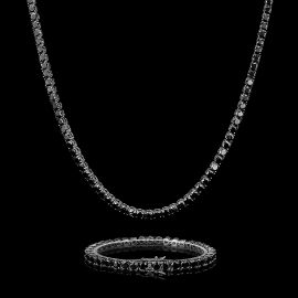5mm ブラック CZダイヤ 18Kブラックゴールド テニス チェーン&ブレスレット セット