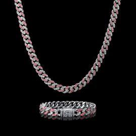 11mm ホワイト&ピンク CZダイヤ キューバ リンク チェーン&ブレスレット セット