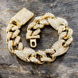 ゴールド 16mm G-リンク キューバ ブレスレット