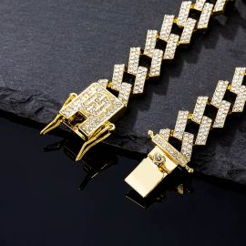 ゴールド 14mm プロング キューバ ブレスレット