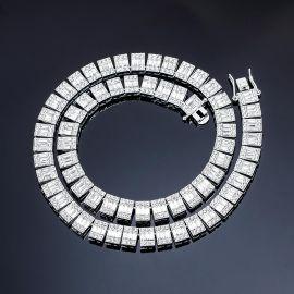 ホワイトゴールド 10mm バゲット&ラウンド CZダイヤ テニス チェーン