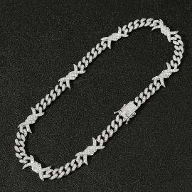 ホワイトゴールド 11mm 有刺鉄線 キューバ チェーン
