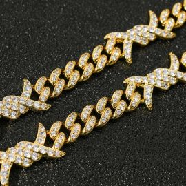 ゴールド 11mm 有刺鉄線 キューバ チェーン
