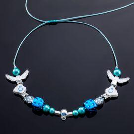 雲天使 笑顔 青色パール ネックレス