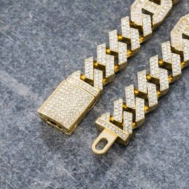 ゴールド 14mm バゲット G-リンク キューバ チェーン