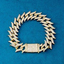 ゴールド 18mm スパイク キューバ ブレスレット