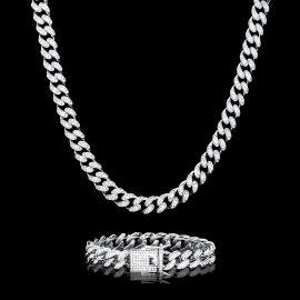 ホワイトゴールド 12mm マイアミ キューバ チェーン&ブレスレット セット