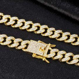 ゴールド 12mm マイアミ キューバ チェーン&ブレスレット セット