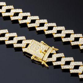 ゴールド 14mm プロング キューバ チェーン&ブレスレット セット
