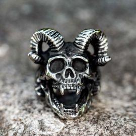 バフォメット 羊の頭蓋骨 ステンレススチール リング