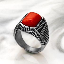赤い CZダイヤ ステンレススチール リング