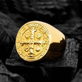 ゴールド ヌルシアのベネディクトゥス ステンレススチール リング